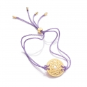 24k Gold Gloss Lilac Crown Chakra Bracelet
