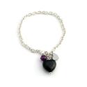 Onyx heart bracelet