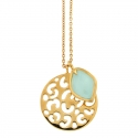 Gold Chalcedony Leopard Pendant