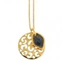 Gold Labradorite Leopard Pendant