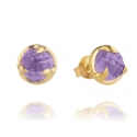 Gold Amethyst Claw Stud Earrings