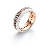 White Deco Band Ring by Babette Wasserman