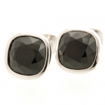 Black Crystal Cushion Cufflinks by Babette Wasserman