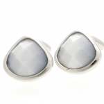 Light Grey Harlequin Crystal Cufflinks By Babette Wasserman