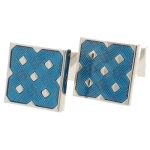 City Blue Check Cufflinks by Babette Wasserman