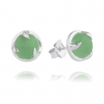 Silver Chrysoprase Claw Stud Earrings by Missoma