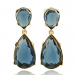 Gold Sapphire Teardrop Earrings