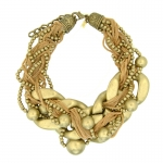 22k Gold Braided Statement Necklace by Kenneth Jay Lane