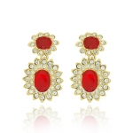 Ruby Cabochon Drop Earrings by Kenneth Jay Lane
