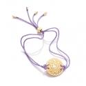 24k Gold Gloss Lilac Crown Chakra Bracelet