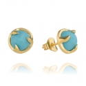 Gold Turquoise Claw Stud Earrings