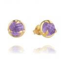 Gold Amethyst Claw Stud Earrings
