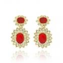 Ruby Cabochon Drop Earrings