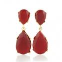 Gold Ruby Teardrop Earrings