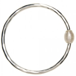 Silver Pearl Bangle by Mirabelle