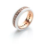 White Deco Band Ring by Babette Wasserman