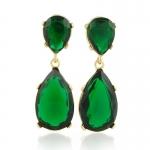 Gold Emerald Teardrop Earrings by Kenneth Jay Lane