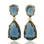 Gold Sapphire Teardrop Earrings