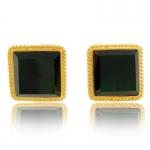 Gold Trim Emerald Earrings by Kenneth Jay Lane