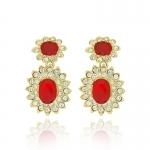 Ruby Cabochon Drop Earrings by Kenneth Jay Lane